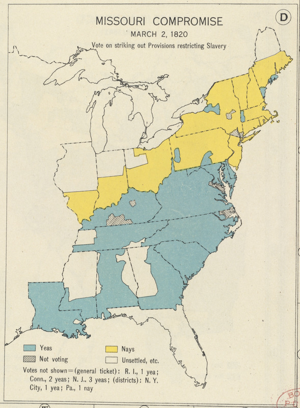 Missouri Compromise, March 20, 1820, Vote on striking out provisions restricting slavery