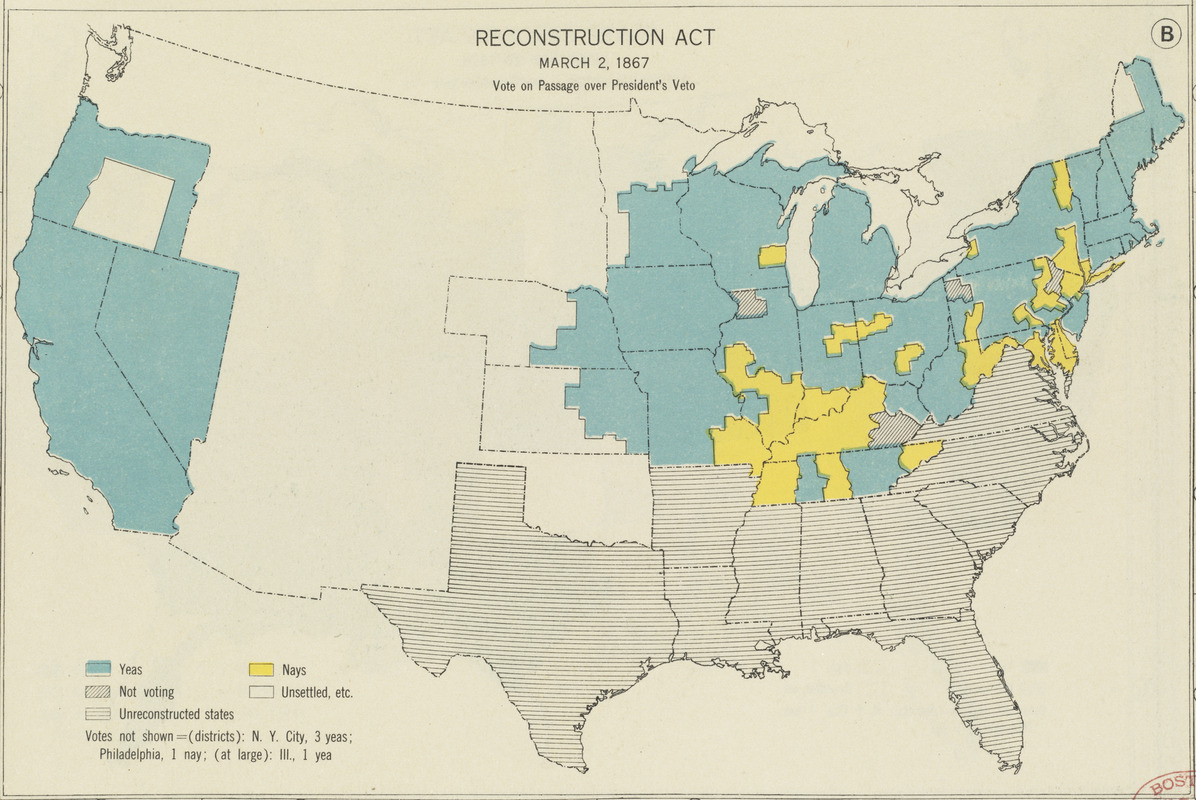 reconstruction act march 2 1867 vote on passage over presidents veto