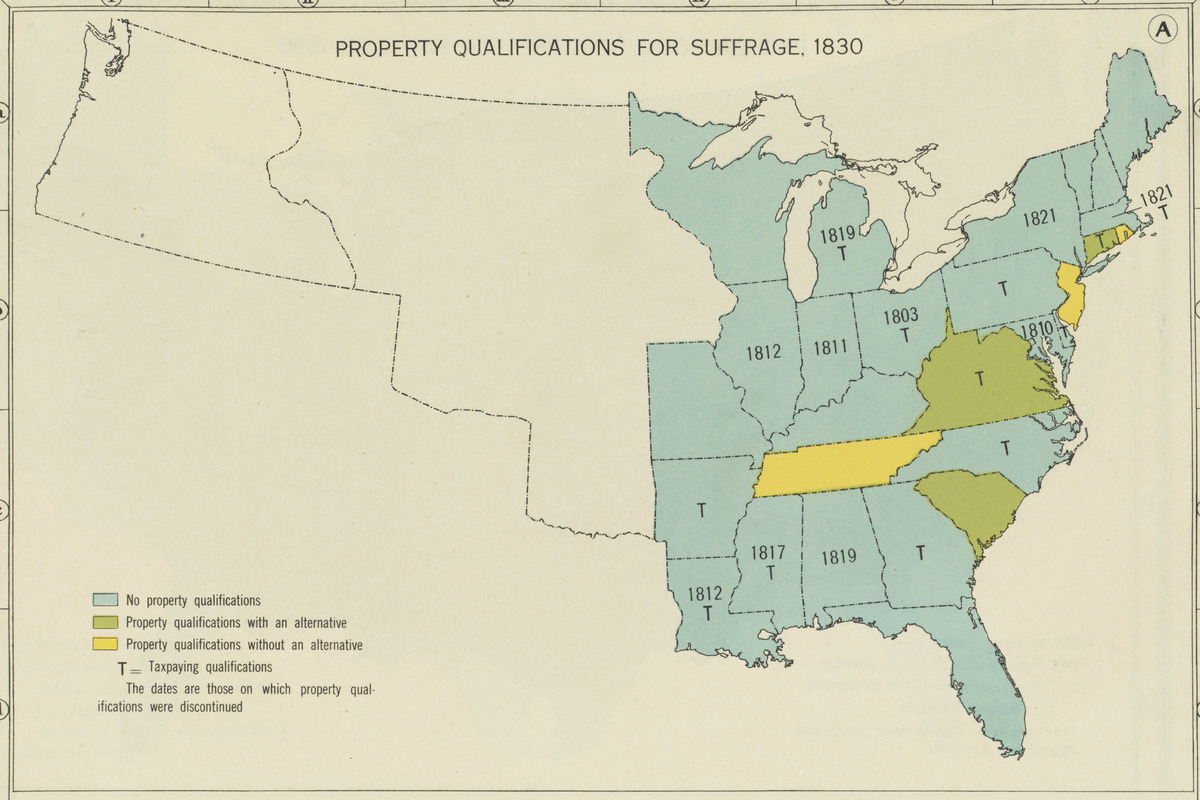 Property qualifications for suffrage, 1830