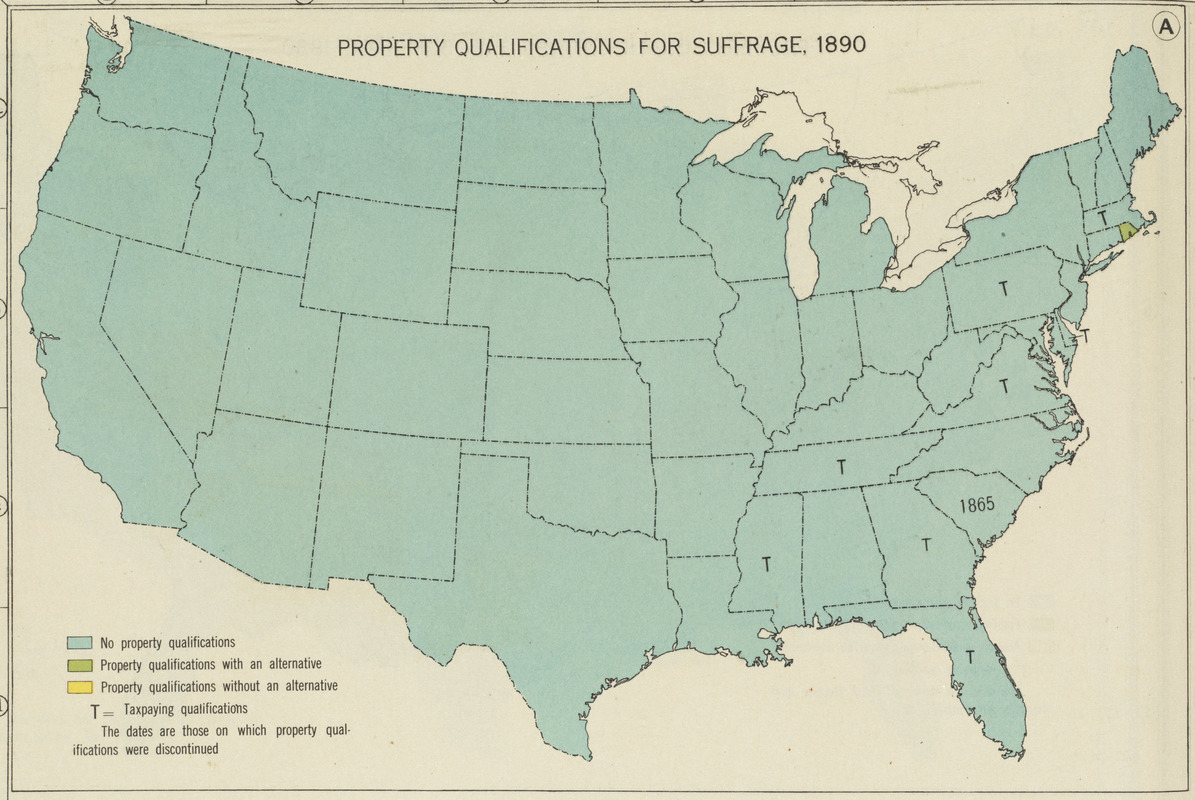 Property qualifications for suffrage, 1890
