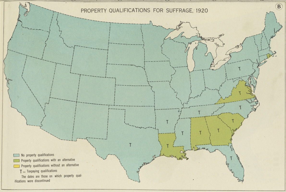 Property qualifications for suffrage, 1920