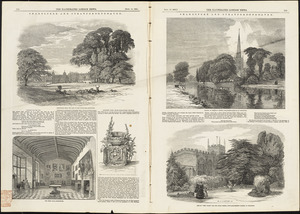 Illustrations of Charlecote Hall, Church of the Holy Trinity, and New Place