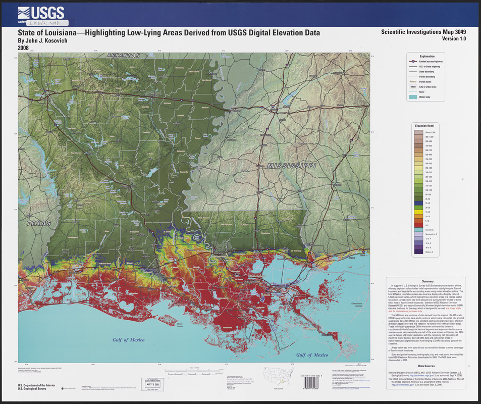 State of louisiana highlighting low lying areas derived from usgs state of louisiana highlighting low lying areas derived from usgs digital elevation data gumiabroncs Choice Image