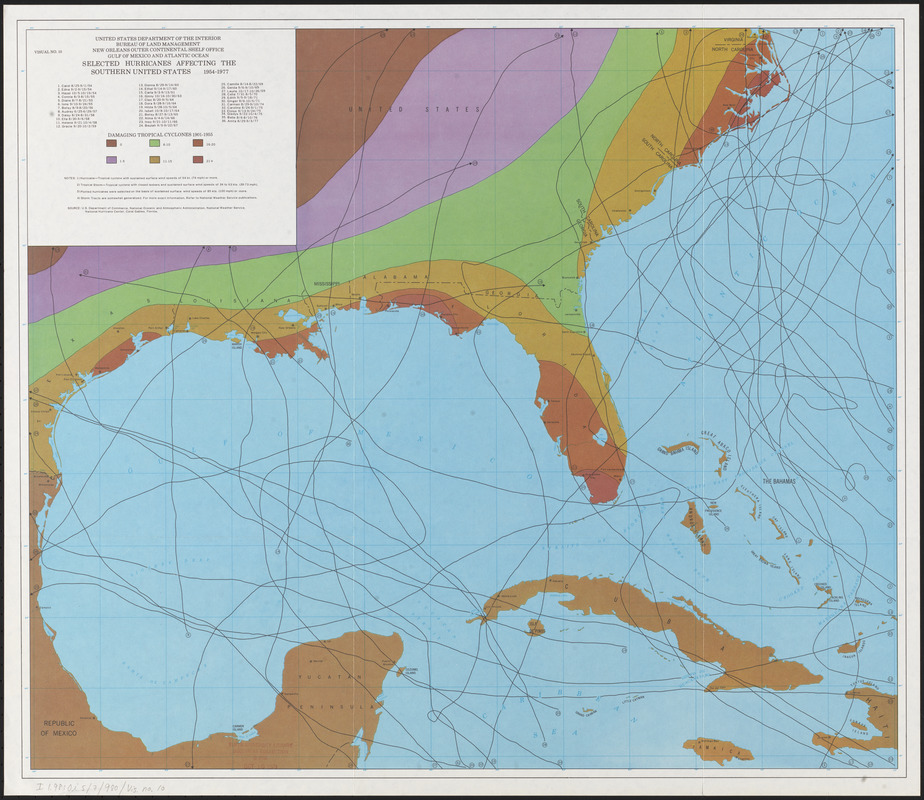 Selected hurricanes affecting the southern United States 1954-1977