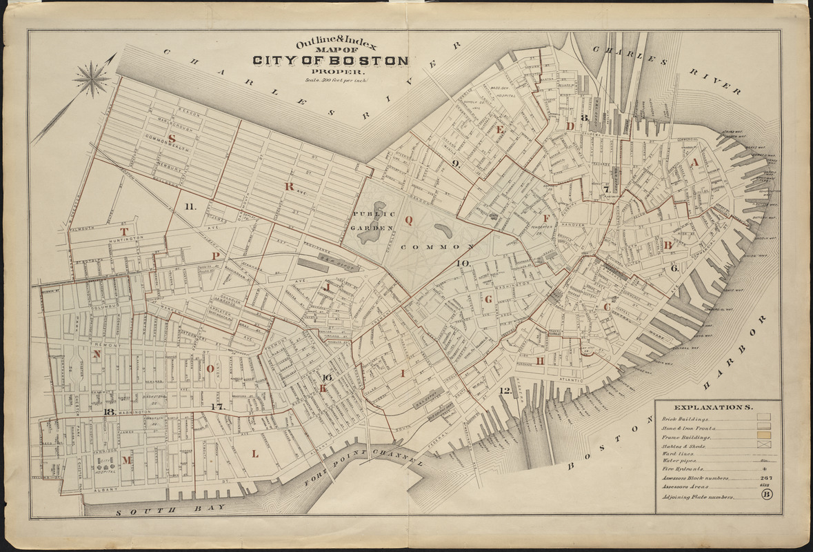 Outline and index map of city of Boston proper