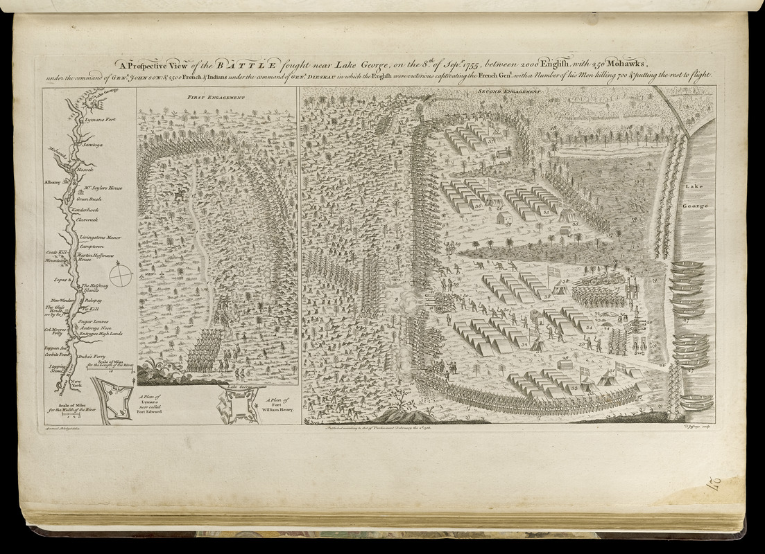 A prospective view of the battle fought near Lake George, on the 8th of Sepr. 1755, between 2000 English, with 250 Mohawks, under the command of Genl. Johnson