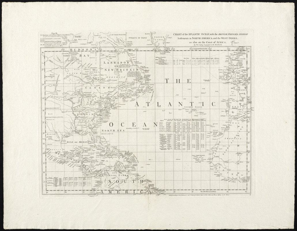 Chart of the Atlantic Ocean, with the British, French, & Spanish settlements in North America, and the West Indies