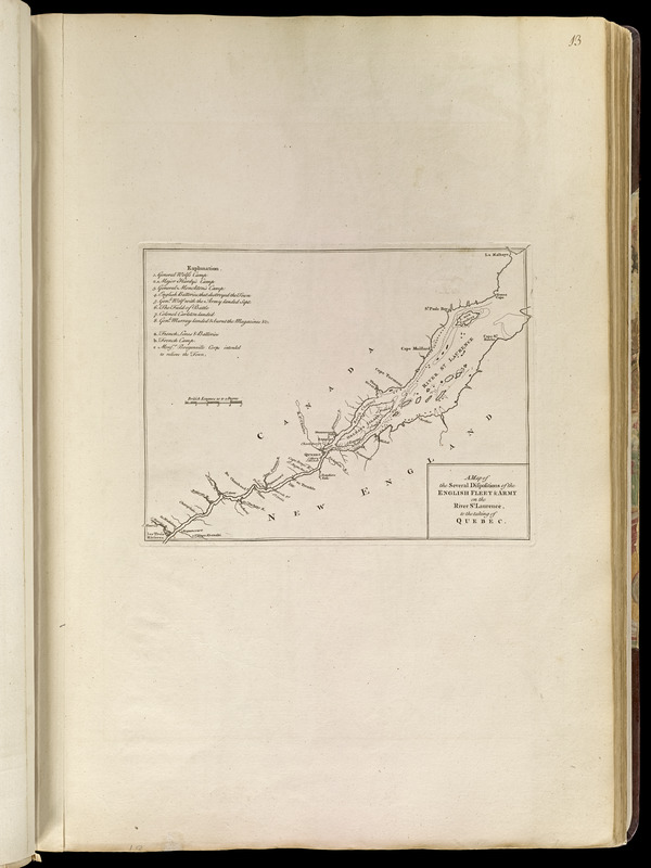 A map of the several dispositions of the English Fleet & Army on the River St. Laurence to the taking of Quebec