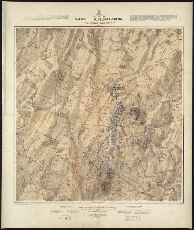 Map of the battlefield of Gettysburg, July 1st, 2nd, 3rd, 1863