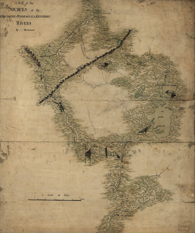 A map of the sources of the Chaudière, Penobscot, and Kennebec rivers