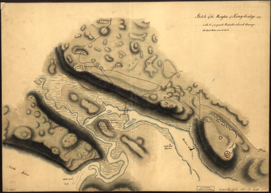 Sketch of the Heights of Kingsbridge 1777, with the proposed redoubts coloured orange