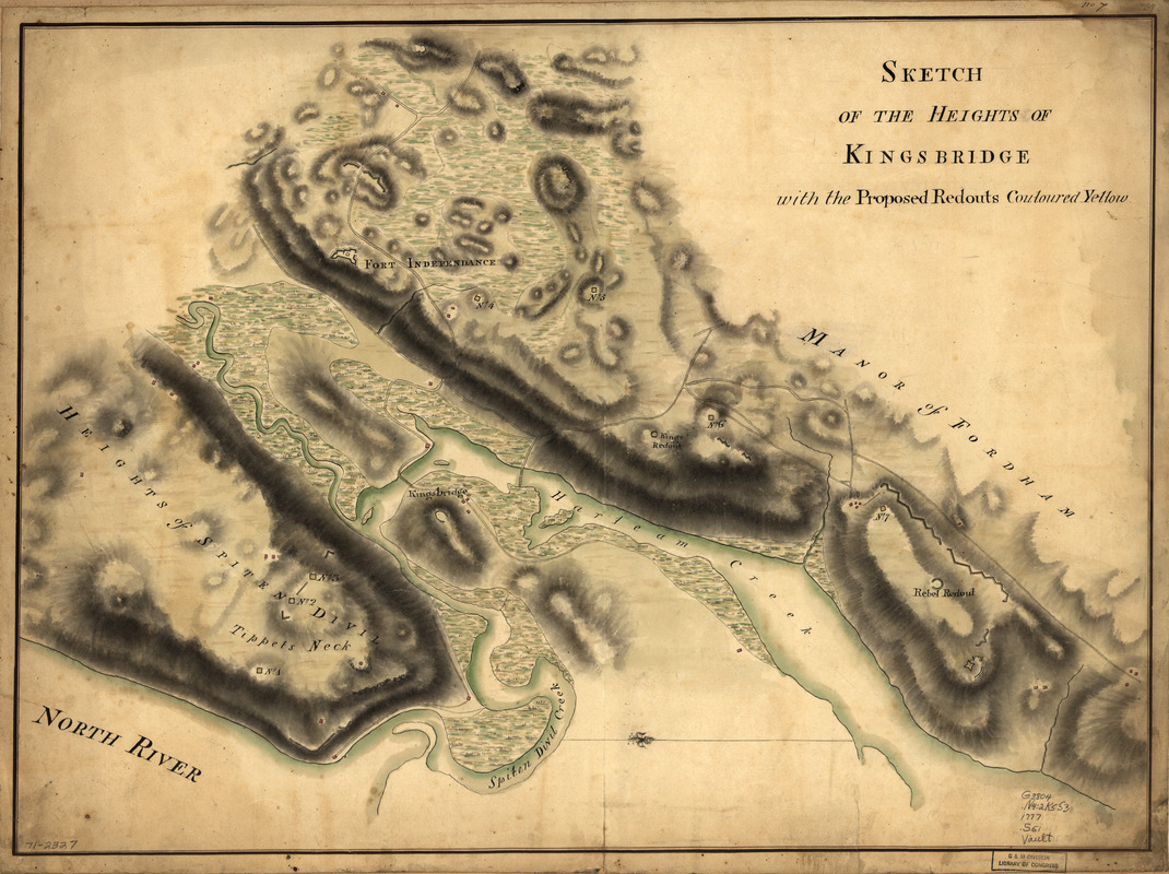 Sketch of the Heights of Kingsbridge, with the proposed redouts couloured yellow