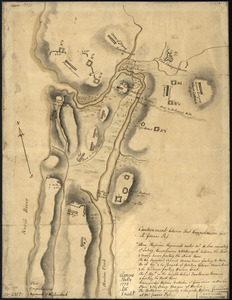 Disposition of British troops, with fortifications north of Fort Knipehausen, i.e. Fort Washington to Fort Independence