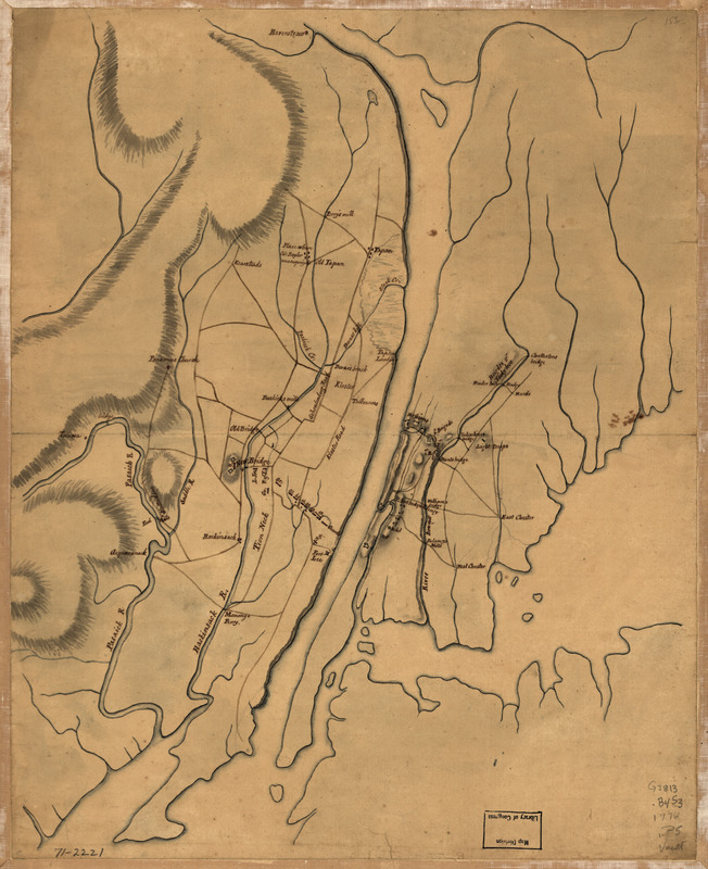 Plan of the country at and in the vicinity of Forts Lee and Independency, showing the position of the British Army