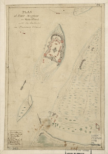 Plan of Fort Mifflin on Mud Island, with the batteries on Province Island