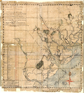 A map of South Carolina from the Savannah Sound to St. Helena's Sound, with the several plantations, their proper boundary lines, their names, and the names of the proprietors included and the grants of lands belonging to Landgrave William Hodgson, coloured green and edged with red with additional plans of those plots which have been resurvey'd by order of Messrs. Boss & Brailsford the purchasers from Hodgson, who inherited from his ancestors, as they had their original grant, from the Palatinate Lord Carteret &c