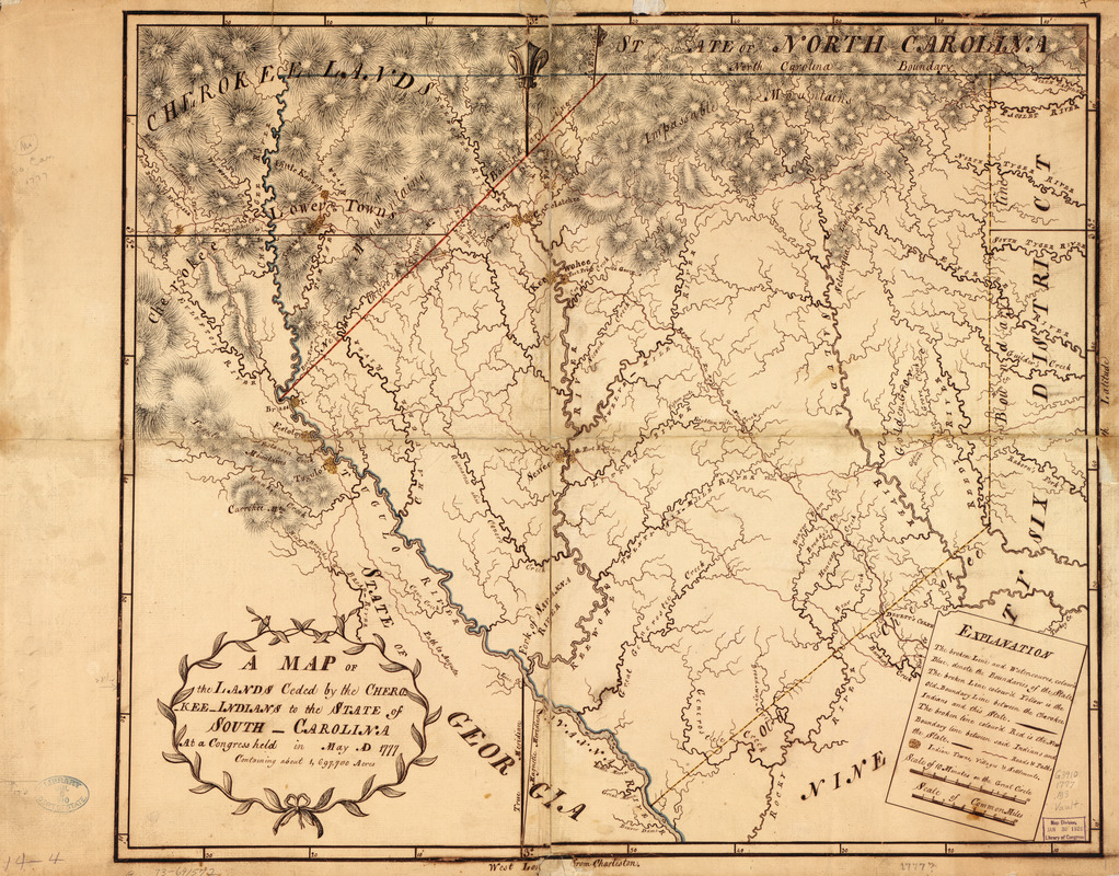 A Map of the lands ceded by the Cherokee Indians to the State of South-Carolina