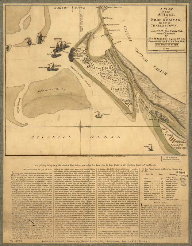 A Plan of the attack of Fort Sulivan