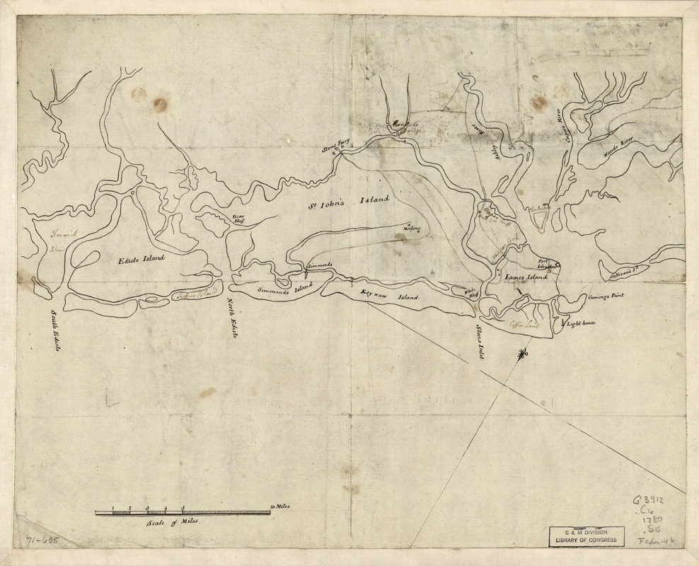 Sketch of the coast from South Edisto to Charles Town, 1st March 1780