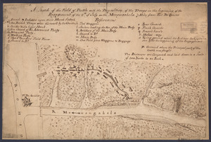 A sketch of the field of battle with the disposition of the troops in the beginning of the engagement of the 9th of July on the Monongahela 7 miles from Fort Du Quesne