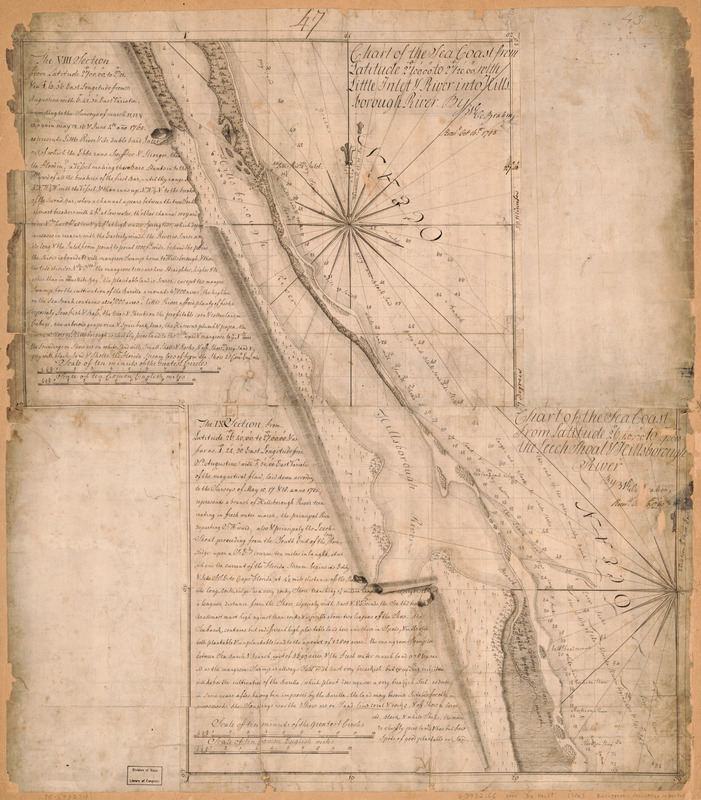 Chart of the sea coast from latitude 27⁰00ʹ00ʺ to 27⁰20ʹ00ʺ, with Little Inlet & River into Hillsborough River ; Chart of the sea coast from latitude 26⁰40ʹ00ʺ to [27⁰]00ʹ00ʺ, the Leech Shoal & Hillsborough River