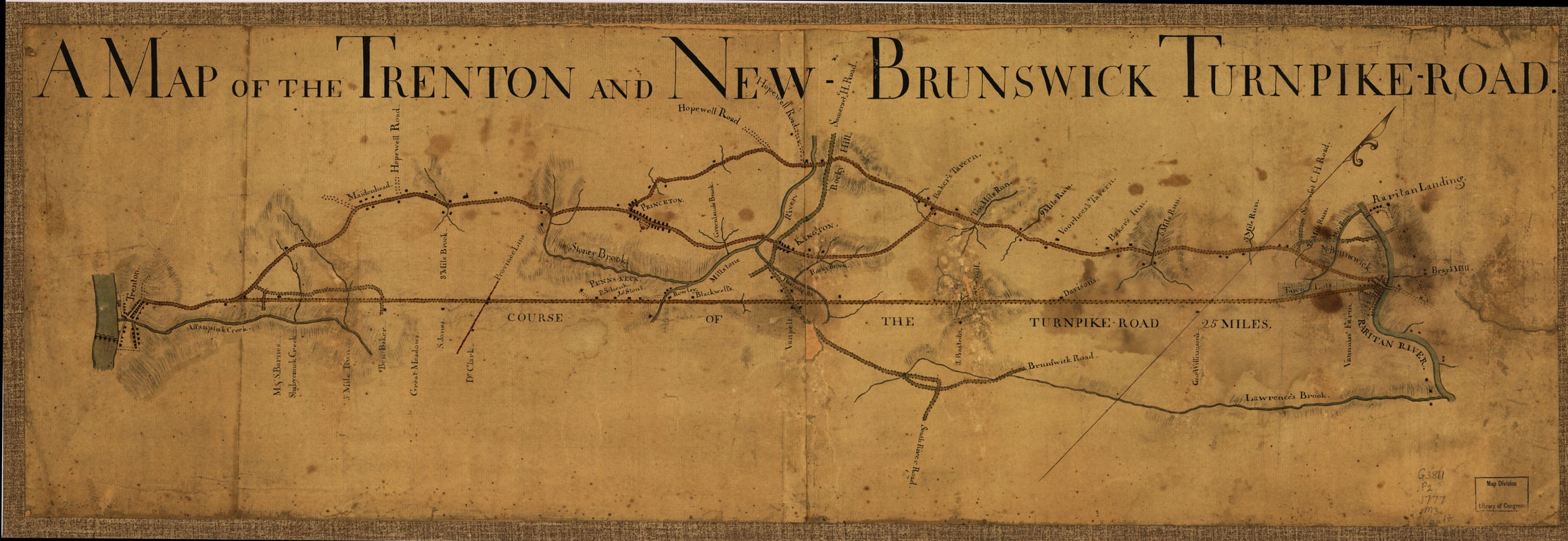 A Map of the Trenton and New-Brunswick Turnpike-road