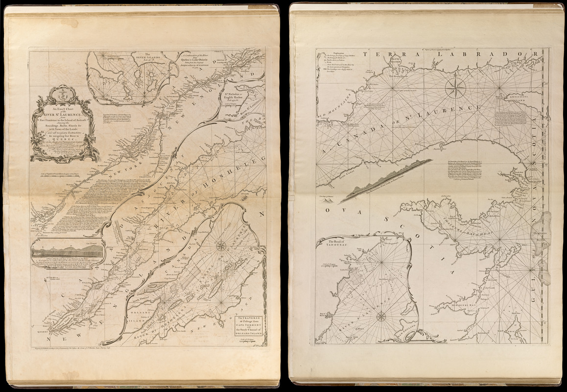 An exact chart of the river St. Laurence, from Fort Frontenac to the island of Anticosti shewing the soundings, rocks, shoals &c with views of the lands and all necessary instructions for navigating that river to Quebec