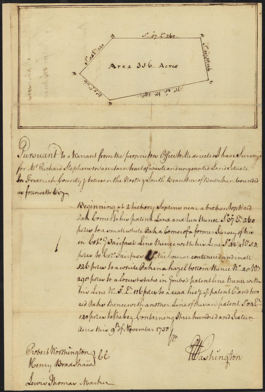 Survey of land for Richard Stephenson in Frederick County; attested by Robert Worthington, Henry Bradshaw and Lewis Thomas
