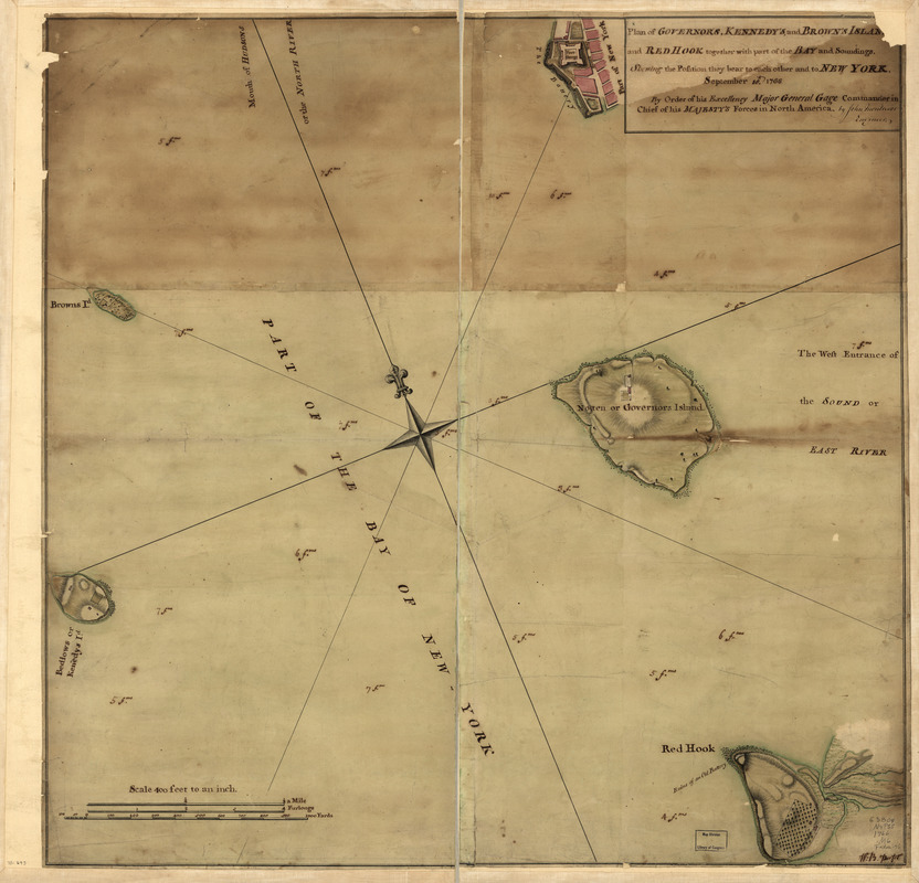 Plan of Governor's, Kennedy's, and Brown's Islan[ds] and Red Hook together with part of the Bay and soundings