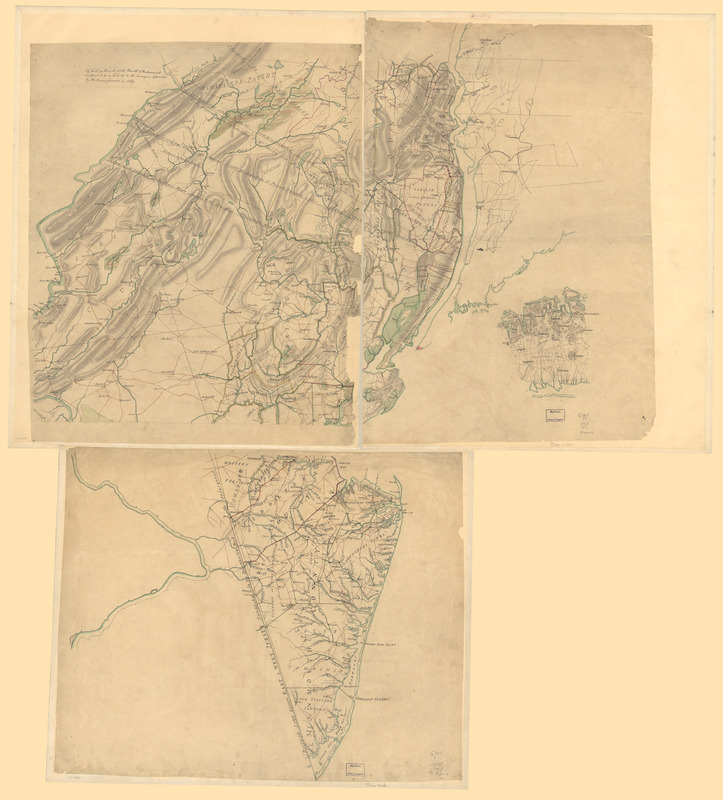 Three maps [i.e. map on 3 sheets] of northern New Jersey, with reference to the boundary between New York and New Jersey