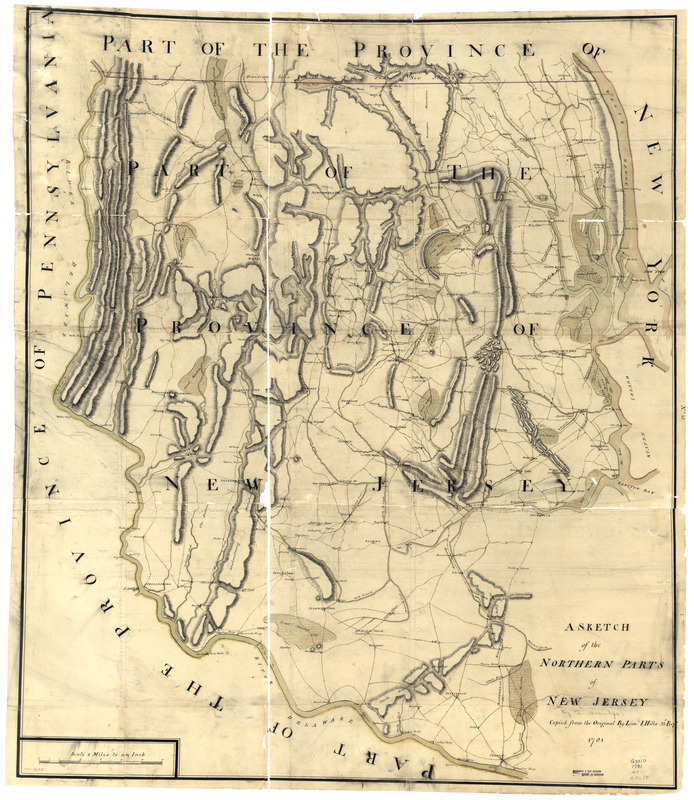 A sketch of the northern parts of New Jersey