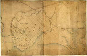 Dotted line map of Washington, D.C., 1791, before Aug. 19th