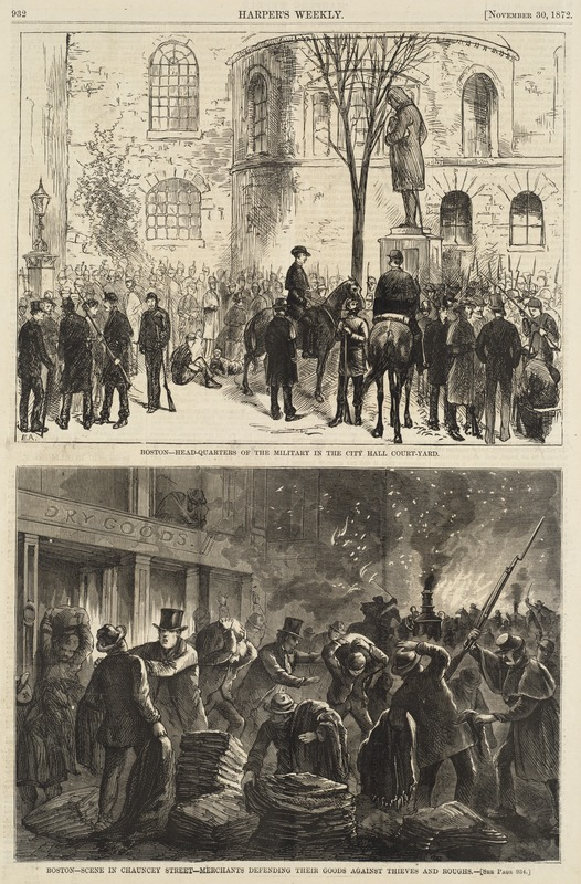 Boston--headquarters of the military in the City Hall court-yard ; Boston--scene in Chauncey Street--merchants defending their goods against thieves and roughs