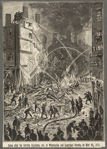 Scene after the terrible explosion, cor. of Washington and  Lagrange Streets, on May 26, 1875