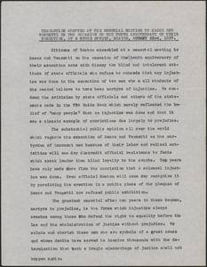 Citizens of Boston typed resolution, [Boston, Mass.], August 23, 1937