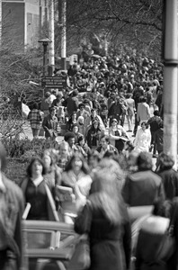 Boston University: Between-class students on Commonwealth Ave., Charles River, Boston