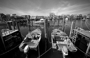 Harbor and motorboats, Nantucket