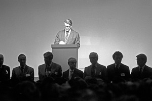 Polaroid's Edwin Land introduces his board of directors at shareholders' meeting, Cambridge