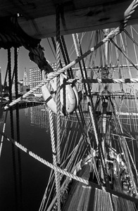 Rigging of HMS Beaver and downtown buildings, Boston