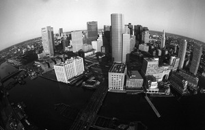 Boston downtown business district & waterfront (fisheye lens), downtown Boston