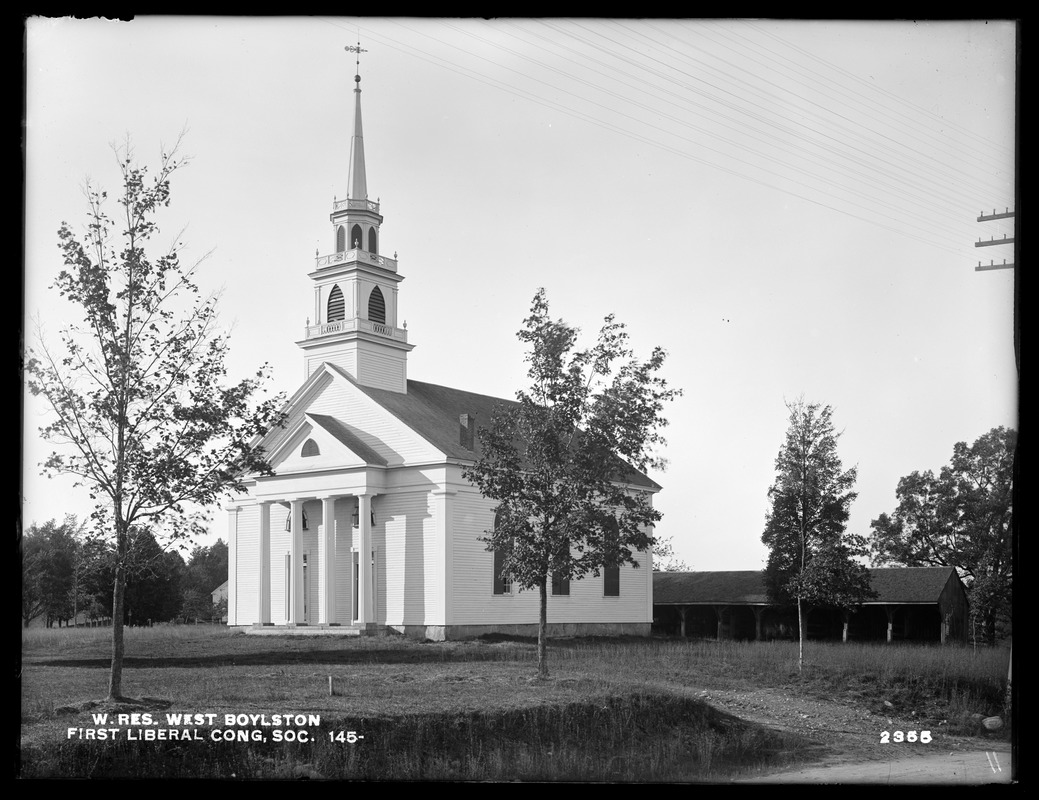 Wachusett Reservoir, First Liberal Congregational Society of West Boylston, church building and sheds, corner of Central and Worcester Streets, from the southeast, West Boylston, Mass., Oct. 17, 1898
