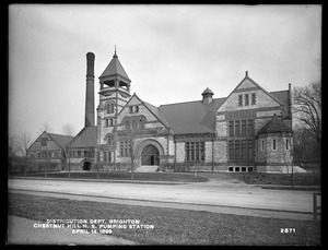 Distribution Department, Chestnut Hill High Service Pumping Station, from the west (a near view), Brighton, Mass., Apr. 14, 1899