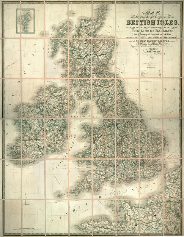 Map of the superficial geology of the British Isles with the physical and topographical features, the line of railways