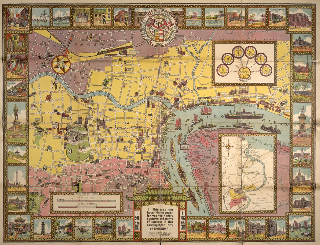 [Illustrated historical map of Shanghai]