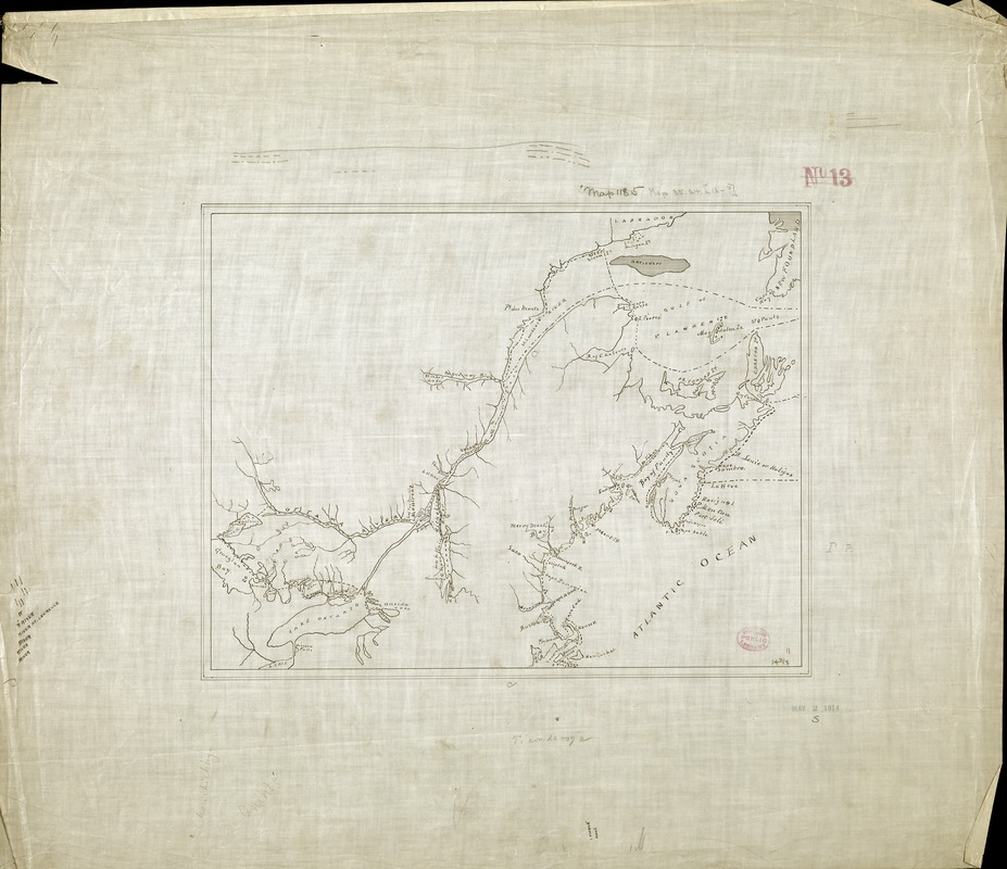[Manuscript map of New England and eastern Canada, showing the routes of Champlain's voyage]