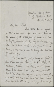Celia Thaxter autograph letter signed to Annie Fields, Appledore, Isles of Shoals, N.H., 24 February 1869
