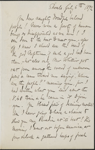 Celia Thaxter autograph letter signed to [Annie and James Fields], Shoals, [N.H.], 6 July 1872