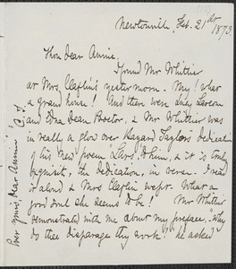 Celia Thaxter autograph letter signed to Annie Fields, Newtonville, [Mass.], 21 February 1873