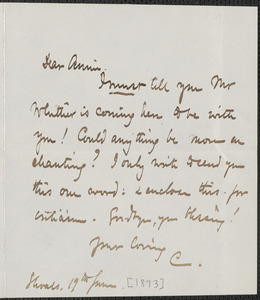 Celia Thaxter autograph note signed to Annie Fields, Shoals, [N.H]., 19 June [1873]