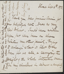 Celia Thaxter autograph letter signed to Annie Fields, Shoals, [N.H.], 10 September 1873